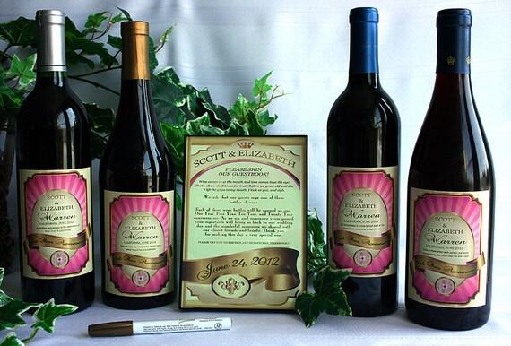 Wedding Guestbook Kit, Wine Bottle Wedding Guest Book Kit Gift Boxed, wine labels, wedding Wine label guest book, Guestbook Wine Kit