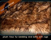Plush Faux Fur Accent Rug Wolf Skin Coyote Original Realistic Awesome Ultra Suede Lining NEW