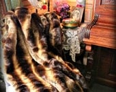 Plush Faux Fur Chinchilla Fur Throw , Rug, Blanket, Bed Cover 5' Lined, New