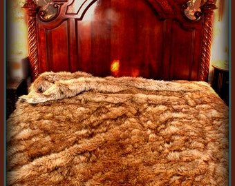 Plush Faux Fur Wolf Comforter Throw Bedspread Soft Minky Cuddle Fur Lining Made in the USA