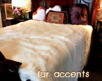 Premium Quality Faux Fur Bedspread, Comforter Sheep Skin, Thick White Shaggy Luxury Shag Plush Soft Minky Cuddle Fur Lining