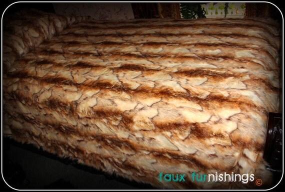 Brown and Cream Stripe Rabbit Bedspread - Comforter - Throw Blanket or DUVET - Plush Faux Fur - Minky Cuddle Fur Lining