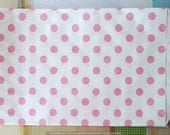 Baby Pink Paper Bags Pink Polka Dots Color  - 6.25 x 9.25 - Set of 20 Pink Favor Bags for weddings, showers, birthdays