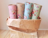 Rose Fabric Sticker Sheet - CHOOSE ONE color - pink, beige, blue or mint green - use as fabric tape for gift wrap