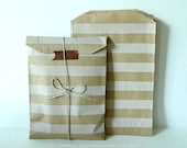 Brown Kraft Stripe Paper Bags  - 5x7.5 - Set of 20 for cute packaging, gift wrap