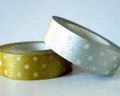 Japanese Washi Tape SIlver and Gold Polka Dots for Holiday Gift Wrap and Packaging Set of 2 (can request single)