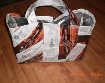 """Upcycled coffee bag Market Tote 18"""" x 14"""" x 6"""" - made to order"""