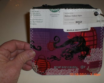 Dragon Zippered Pouch made from Starbucks Coffee Bag