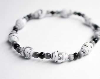 Paper Bead Bracelet Black and White Bracelet - Beauty Gift, Clothing Gift, Gift for Her, EcoFriendly Jewelry, Reiki Charged
