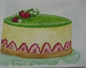 french strawberry cake - original gouache painting