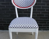 Upcycled Retro 50's Black and White Side, Accent, or Desk Chair