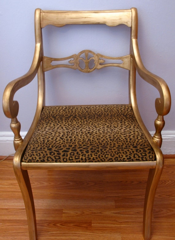 Items Similar To Gold Amp Leopard Print Upcycled Accent Side