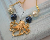Gold Octopus Necklace/ Nautical/ Vintage Pearls