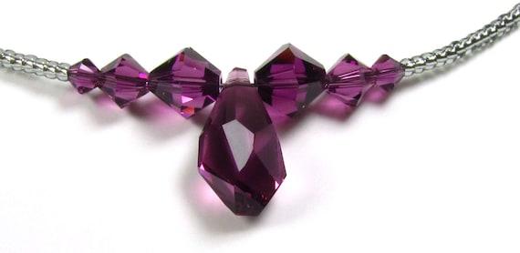 Beaded Swarovski Pendant Necklace - 40% Off