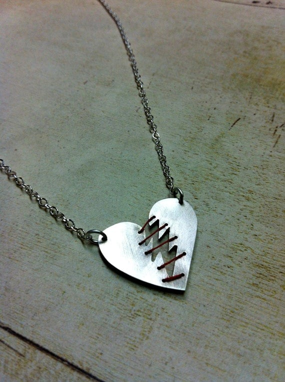 Mended Heart. Sterling Silver and thread. Mended Heart Necklace. Broken Heart.