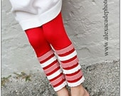 Red Leggings with Red and White Striped Ruffles