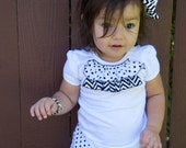White Cotton Shirt with Black and White Chevron Print and Metro Circle Black and White Polka Dot Ruffles