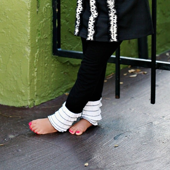 Black Leggings with White and Black Cascading Ruffles