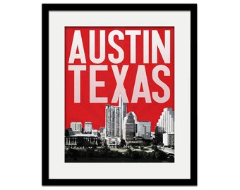 Austin Texas City Skyline - Housewarming Gift - choose your color - Wall Art Souvenir Wedding Gift Print ATX