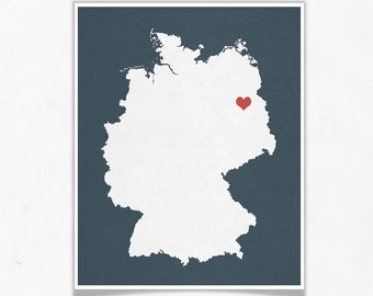 Germany Map - Europe Custom Personalized Map Heart Print - I Love Germany Hometown Wall Art Gift Souvenir
