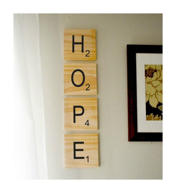 Giant scrabble style wood wall art choose your own letters for Large scrabble letters wall decor