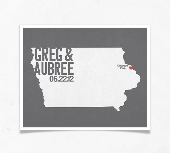 Iowa Wedding Gift - Personalized State and Heart Silhouette  - Custom Wedding Date - Location City and State Modern Art Print - 8x10