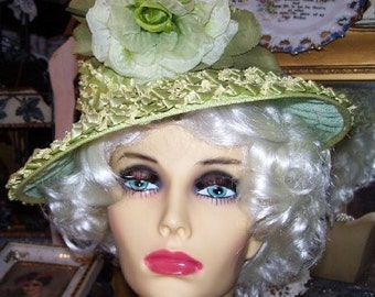Vintage Woven Green Straw Brim Hat With Rose