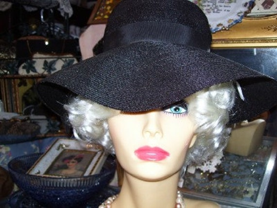 Vintage 1950s Sexy Black Wide Brim Hat