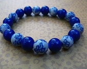 Royal Blue Oriental Glass Beaded Bracelet