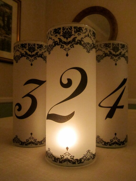 For Kristin - 17 Decorative Damask Luminary Table Number Templates for Weddings and Parties