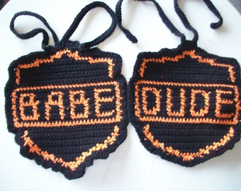 "Baby Bibs with words of  ""BABE"" or ""DUDE"" Special Bib for Biker's Baby / Fun Bibs for Baby"