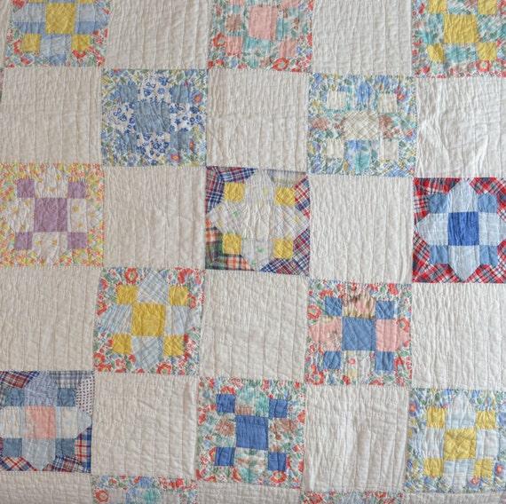 Vintage Quilt Hand Stitched Square Block