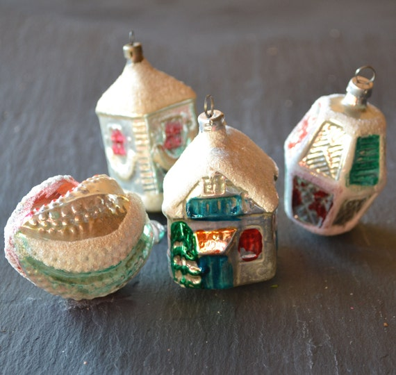 Glass West Germany Vintage Christmas Ornaments with Mica Glitter Set of 4
