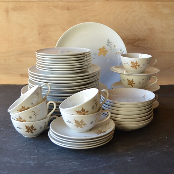 Mid Century Dinnerware Set 48 piece by Royal Jackson Enchantment Pattern from Vintage Resolution