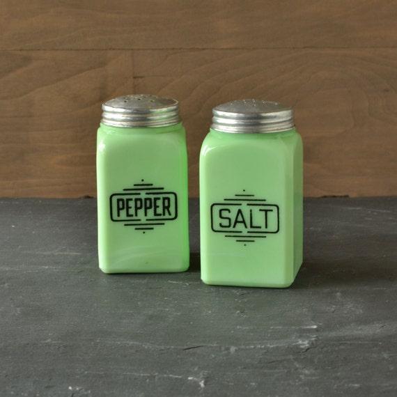 McKee Jadite Jadeite Salt and Pepper Shakers Set with Block Lettering