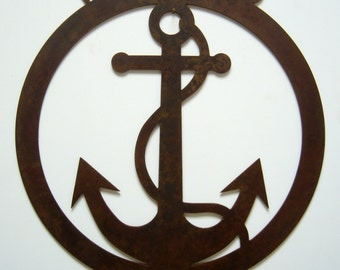 Metal art Welcome Aboard nautical anchor theme steel sign natural patina rustic