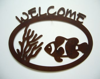Metal art welcome beach theme clown fish steel sign natural patina rustic