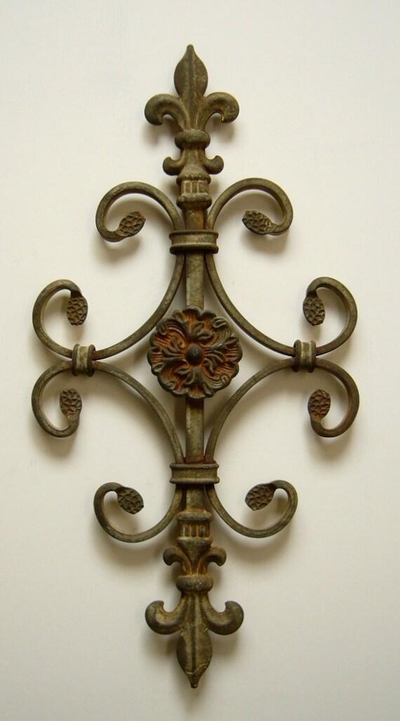 Metal art steel flower scroll fleur de lis southwest natural patina rustic