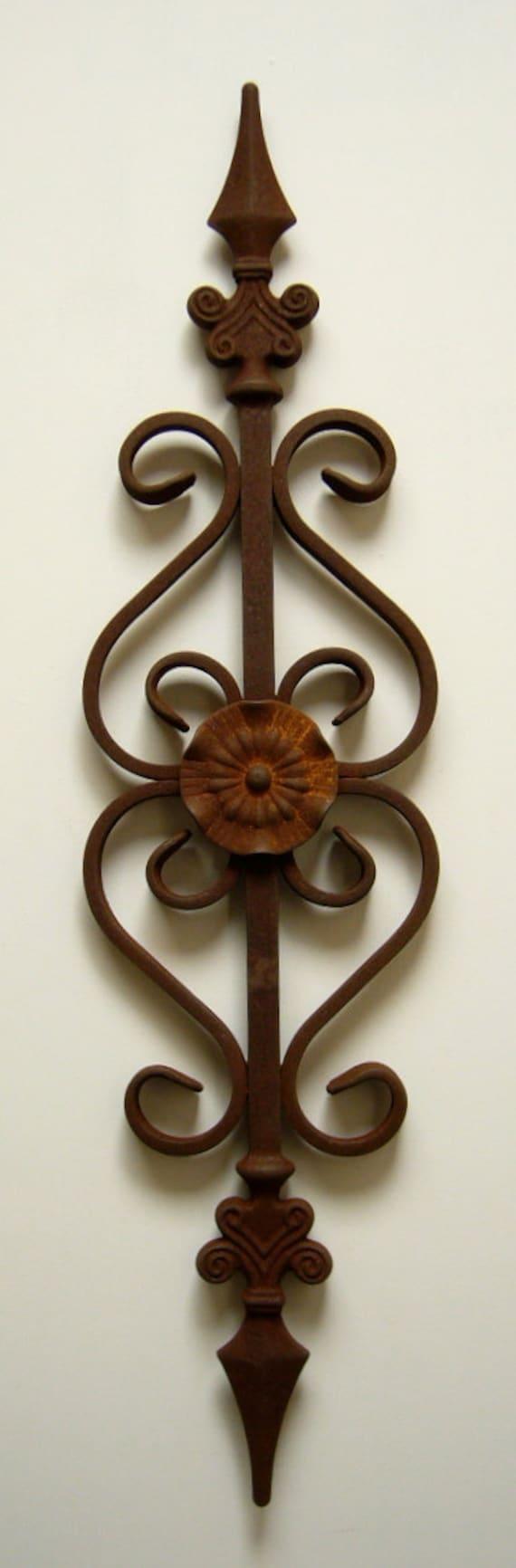 Metal art steel flower scroll southwest natural patina rustic