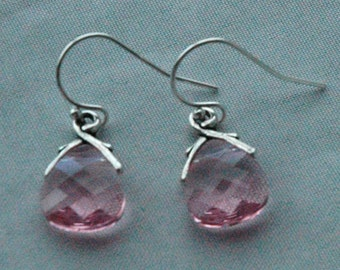 Light Pink  Small - Swarovski Crystal Light  Pink  Rose Briolettes Earrings
