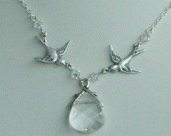 Sparrows with Swarovski Crystal Briolette Necklace, Bridesmaids Necklaces, Bridesmaids Gift Set Jewelry