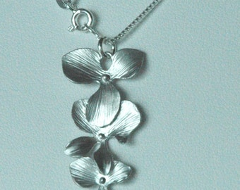 Sterling Silver Orchid Flowers Pendant Necklace