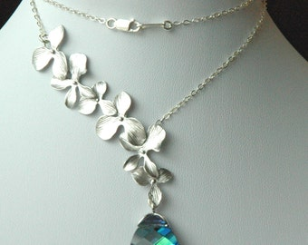 Sterling Silver Orchid Lariat Style and Swarovski Crystal Aqua Sphinx Necklace, Bridesmaids Gifts - Wedding Jewelry Necklace