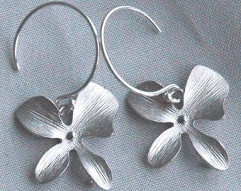 Sterling Silver Four Petal Orchid Flowers Dangle Earrings