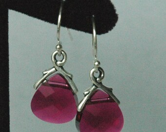 Ruby Small - Swarovski Crystal Ruby  Briolettes Earrings, Bridesmaids Earrings, Bridesmaids Gift Set Earrings
