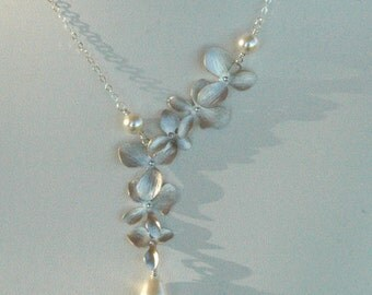 Sterling Silver Orchid Flowers Pearls Dangle Lariat Necklace