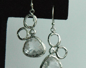 Sterling Silver Bubble Crystal Clear   Dangle Earrings