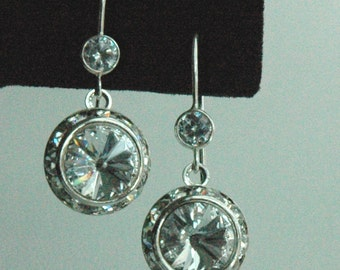 Swarovski Crystal Rivoli and CZ  Post  Sterling Silver  Earrings, Cubic Zirconia Weddings Bride Bridal Earrings, Bridesmaids Earrings