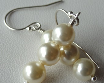 Simple Triple Swarovski Crystal Cream  Pearl Earrings, Bridesmaids Gift Set Earrings, Wedding Earrings