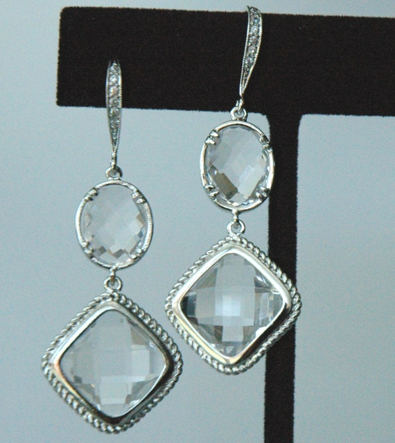 Rhombus  Sterling Silver Cubic Zirconia Dangle EarringsWedding Bride Bridal Earrings, Bridesmaids Earrings